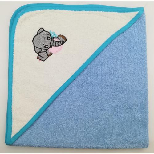 Полотенце-конверт Valtery Слоненок (голубой) 70x70