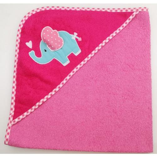 Полотенце-конверт Valtery Слоненок с сердечком (розовый) 70x70