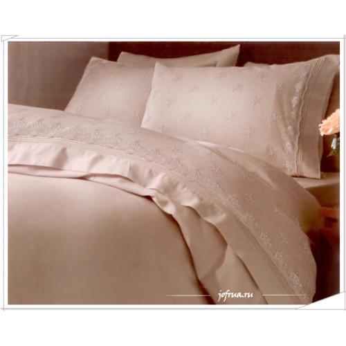Свадебное постельное белье Gelin Home Ebru (бежевое) евро