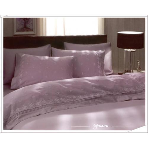 Свадебное постельное белье Ebru (лиловое) евро