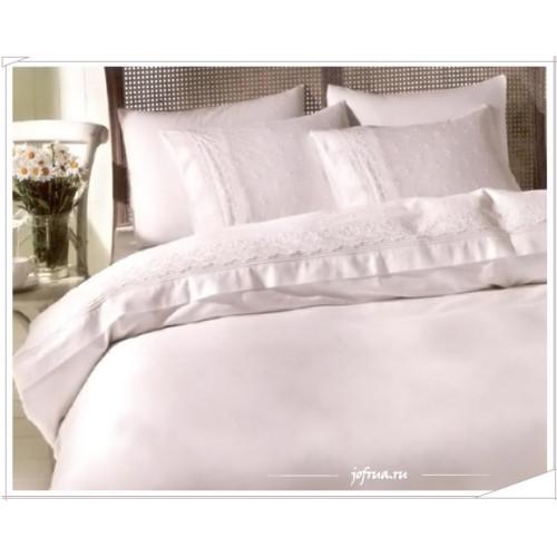 Свадебное постельное белье Eda (белое) евро