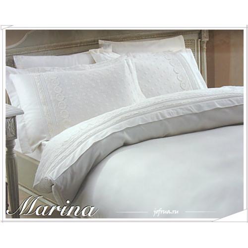 Свадебное постельное белье Marina (белое) евро