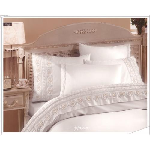 Свадебное постельное белье Gelin Home Nergis (белое) евро