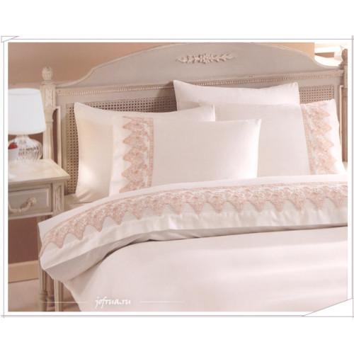Свадебное постельное белье Gelin Home Oya (белое) евро