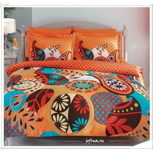 Постельное белье TAC Evas (оранжевое) семейное
