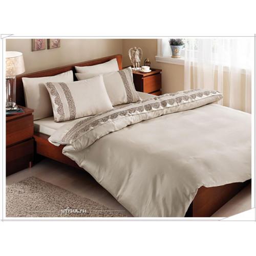 Свадебное постельное белье Gelin Home Biricik (бежевое) евро