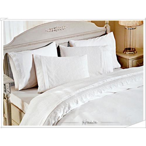 Свадебное постельное белье Gelin Home Hurrem (белое) евро