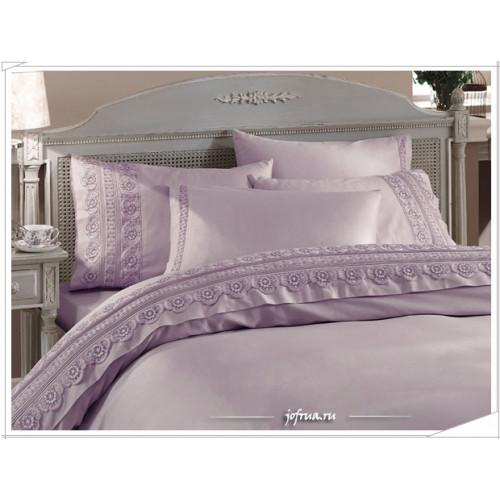 Свадебное постельное белье Gelin Home Nergis (лиловое) евро