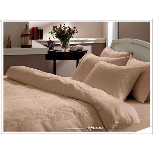 Свадебное постельное белье Gelin Home Sedef (бежевое) евро