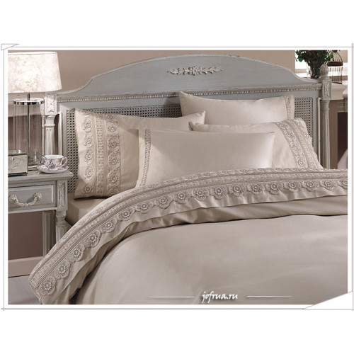 Свадебное постельное белье Gelin Home Nergis (бежевое) евро