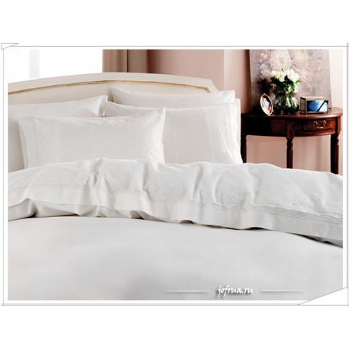 Свадебное постельное белье Gelin Home Ebru (белое) евро