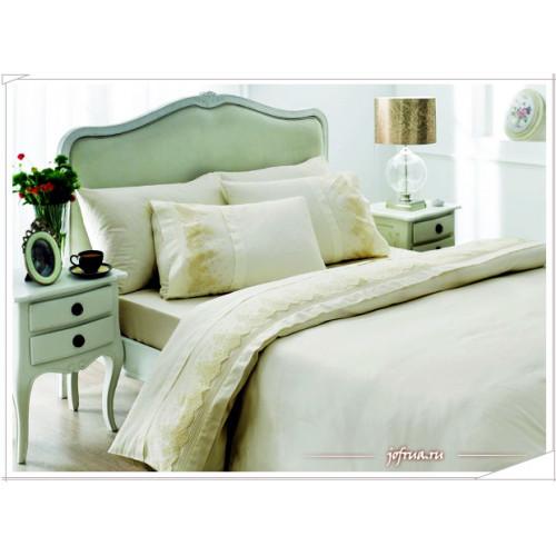 Свадебное постельное белье Gelin Home Meryem (белое) евро