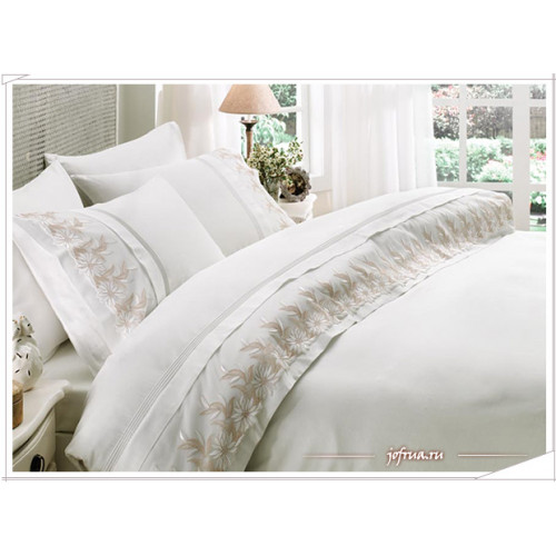 Свадебное постельное белье Zambak (белое) евро