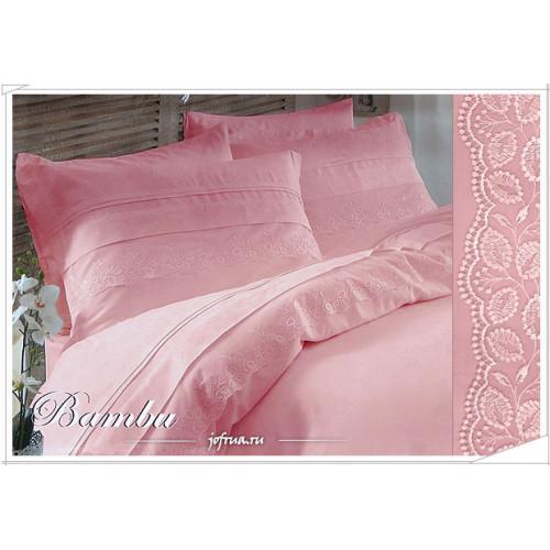 Свадебное постельное белье Gelin Bambu (розовое) евро
