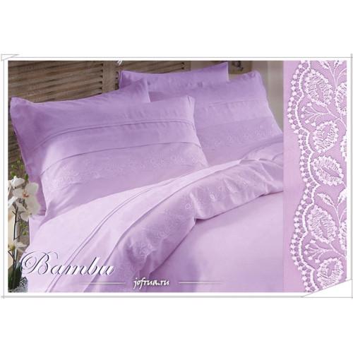 Свадебное постельное белье Gelin Bambu (лиловое) евро