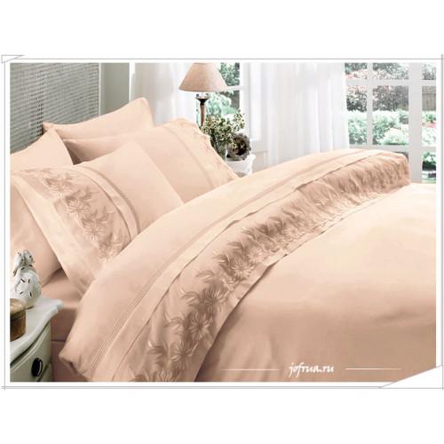 Свадебное постельное белье Gelin Home Zambak (бежевое) евро