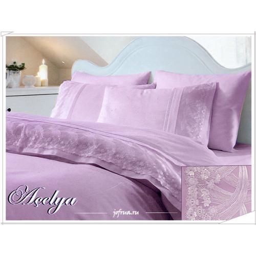 Свадебное постельное белье Gelin Home Acelya (лиловое) евро