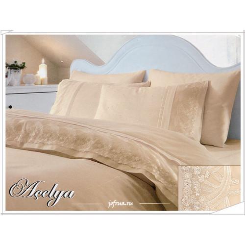 Свадебное постельное белье Gelin Home Acelya (бежевое) евро
