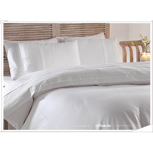 Свадебное постельное белье Gelin Home Merve (белое) евро