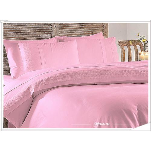 Свадебное постельное белье Gelin Home Merve (розовое) евро