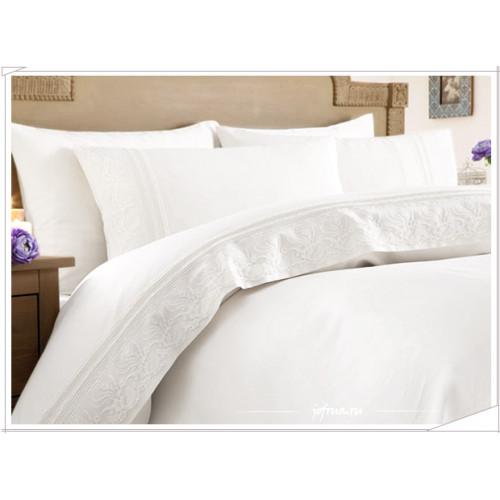 Свадебное постельное белье Melek (белое) евро