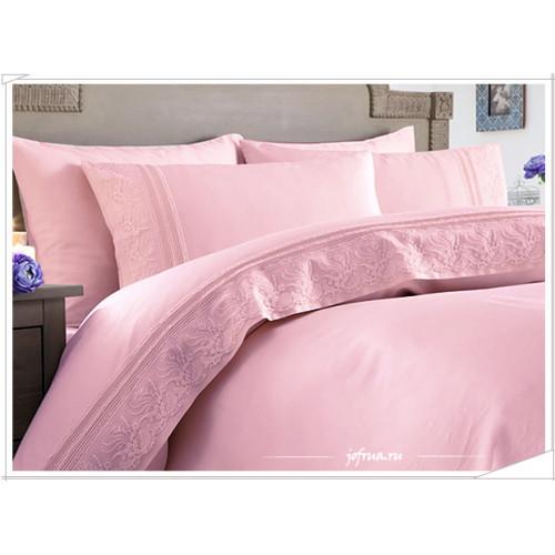 Свадебное постельное белье Melek (розовое) евро