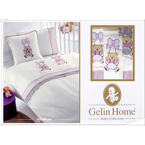 Детское белье в кроватку с медвежатами Gelin Sallanan лиловое