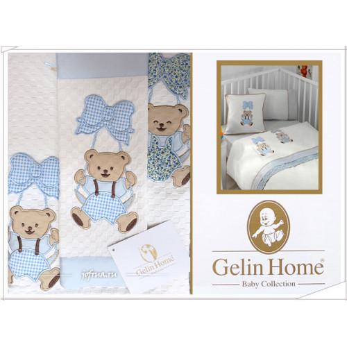 Детский набор с пледом Gelin Sallanan (трикотажный) голубой