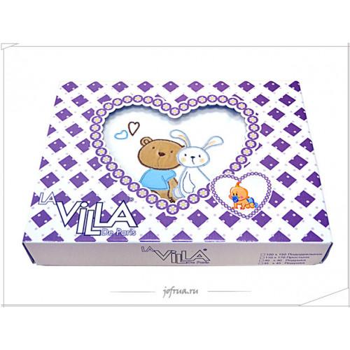 Детское белье в кроватку MACRO Медвежонок Teddy голубое