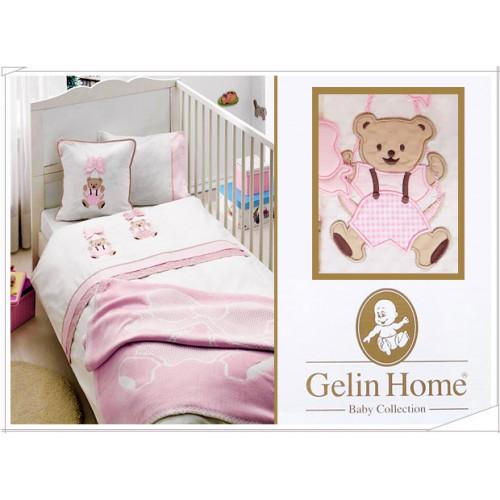 Детское белье в кроватку + покрывало Gelin ORGU розовый
