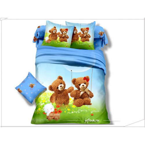 Детское постельное белье Мишки: на качелях