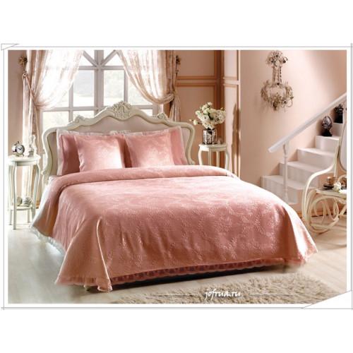 Покрывало Ameno с кружевом (розовое) 260х260