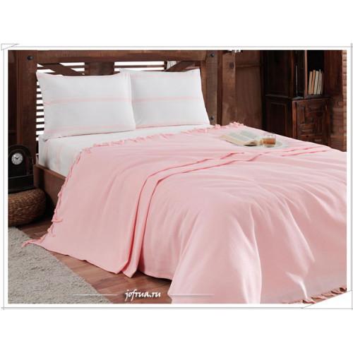 Набор с вафельным пледом Gelin Home Truva (розовый) 2-спальный