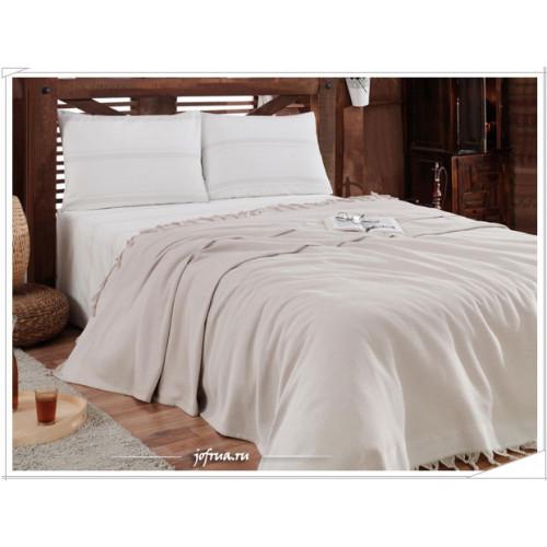 Набор с вафельным пледом Gelin Home Truva (пудра) 2-спальный