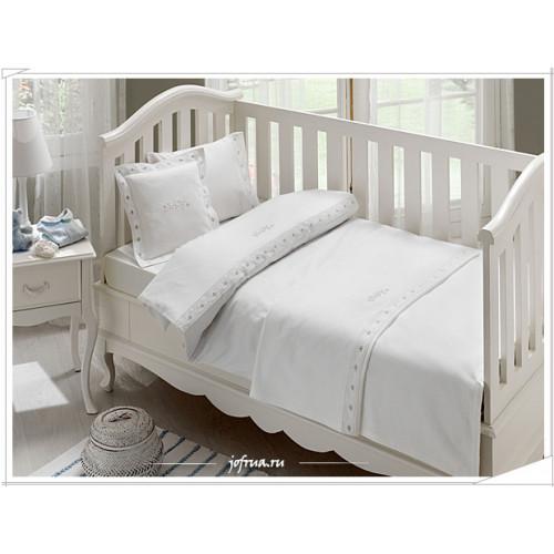 Детское белье в кроватку + покрывало Tivolyo Touch (голубое)