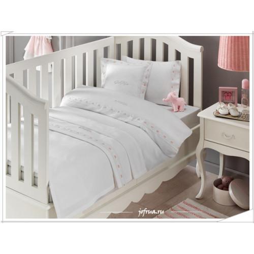Детское белье в кроватку + покрывало Tivolyo Touch (розовое)