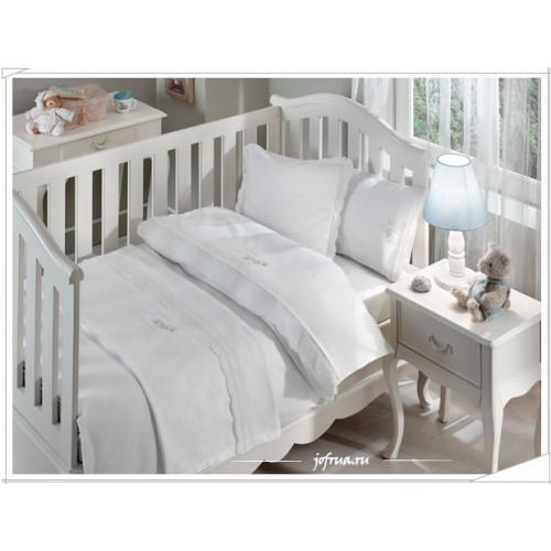Детское белье в кроватку + покрывало Flower (голубое)