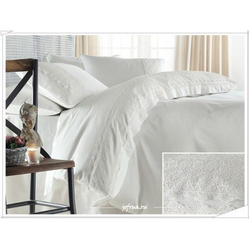 Свадебное постельное белье Gelin Home Beren (белое) евро