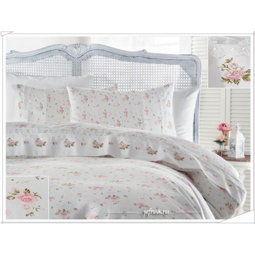 Свадебное постельное белье Roza (розовое) евро