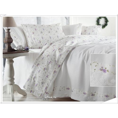 Свадебный набор Gelin Home Roza (белый с лиловыми розами) евро