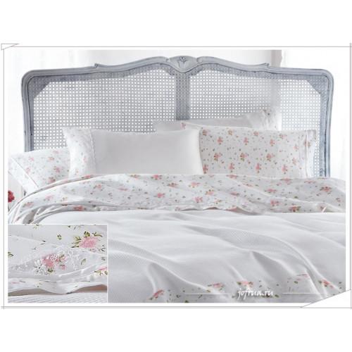 Свадебный набор Gelin Home Roza (белый с розовыми розами) евро