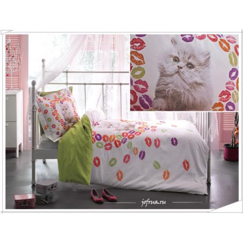 Постельное белье Tivolyo Kitty Котенок (зеленое) 1.5-спальное
