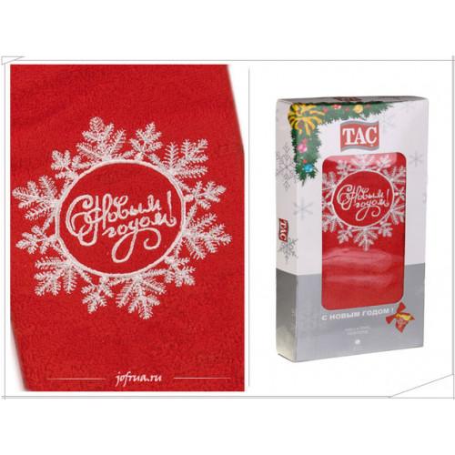 Подарочное полотенце TAC Snowflake С НОВЫМ ГОДОМ (красное)