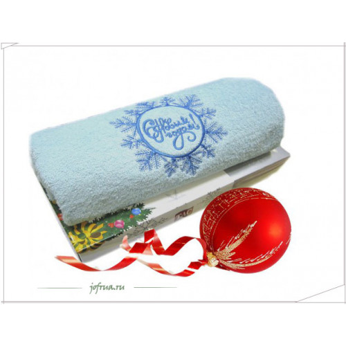 Подарочное полотенце TAC Snowflake С НОВЫМ ГОДОМ (бирюзовое)