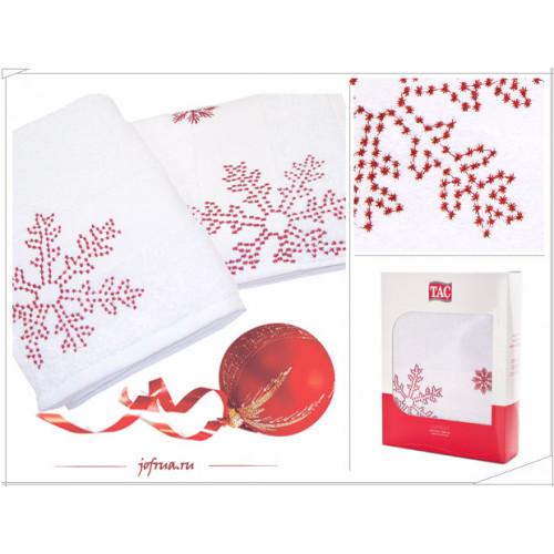 Набор полотенец TAC Snow Снег (белый-красный, 2 предмета)