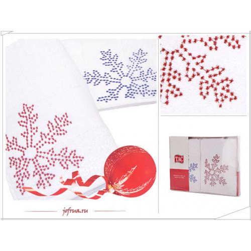 Набор полотенец TAC Snow Снег (голубой-красный, 2 предмета)