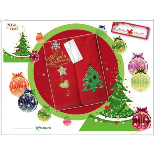 Набор полотенец La Villa Новогодняя Ёлка (красный, 2 предмета)