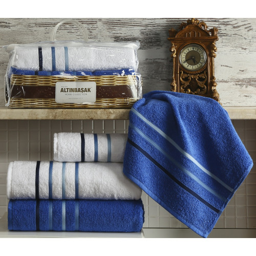 Набор полотенец Altinbasak Dolce (белый-синий, 4 предмета)