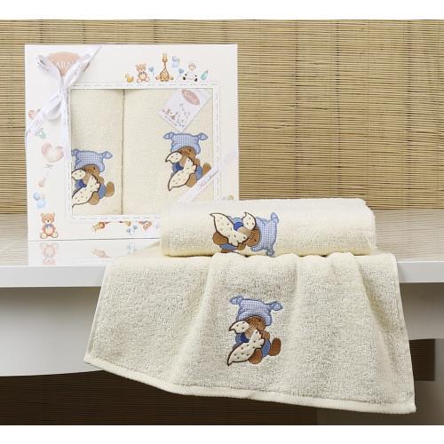 Набор полотенец Karna Bambino Teddy (2 предмета, кремовый)