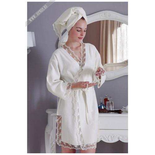 Халат Tivolyo Bianca (белый) размер S-M + полотенце 50x100